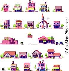 bâtiments, vecteur, ensemble, bas, poly
