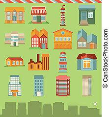 bâtiments, vecteur, ensemble, icônes