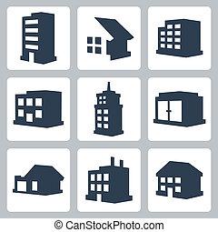 bâtiments, vecteur, ensemble, isolé, icônes