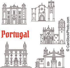 bâtiments, vecteur, repères, portugal, architecture