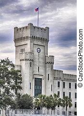 bâtiments, vieux, capus, charleston, citadelle, caroline sud