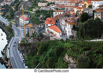 bâtiments, vieux, centre, porto, résidentiel, portugal., vue