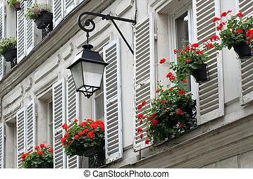 bâtiments, vieux, fenetres, paris., montmartre, volets