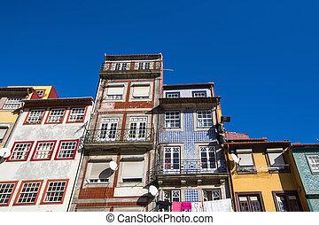 bâtiments, vieux, porto, portugal., partie, central