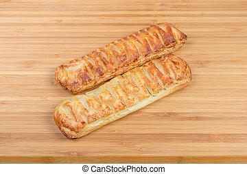 bâtons, bois, planche découper, cheese-stuffed, pain