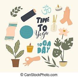 bâtons, bougie, plante, natte, arôme, fitball, theme., yoga...