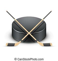 bâtons., lutin, hockey, glace, vector.