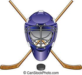 bâtons, lutin, masque, hockey glace, gardien de but