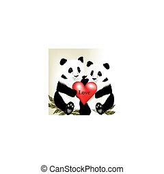 bã¤ren, reizend, paar, karikatur, panda