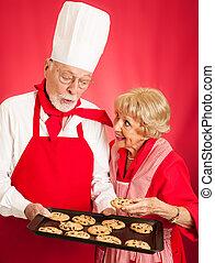 bäcker, anteile, pl�tzchen, mit, hausfrau