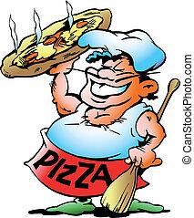 bäcker, pizza, riesig