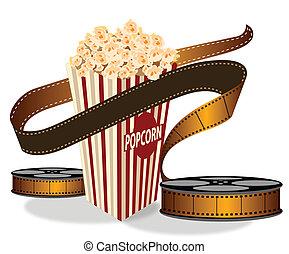 bänder, spule, fotoapperat, popcorn, bild, oberseite, kasten...