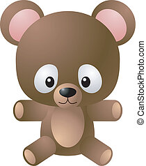 bär, abbildung, teddy