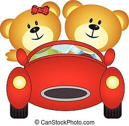 bär, brüder, spielende , mit, auto