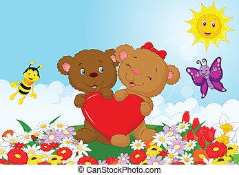 bär, hören, besitz, karikatur, rotes , glücklich