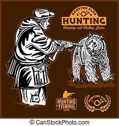 bär, jagen, und, monochrom, etiketten, satz