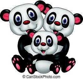bär, karikatur, familie, panda