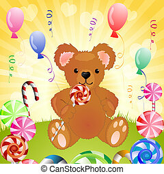 bär, mit, zuckerl, und, luftballone