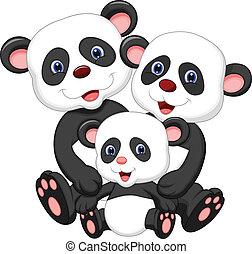 bär, panda, familie, karikatur