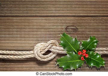 bär, struktur, ved, jul, järnek, röd