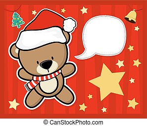 bär, weihnachtskarte, teddy