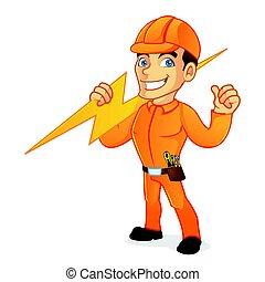 bärande, elektriker, bult, blixt