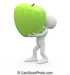 bärande, man, jättestor, grönt äpple