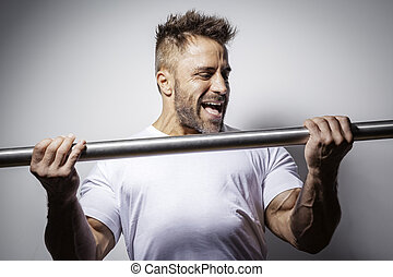 bärtig, bodybuilding, mann