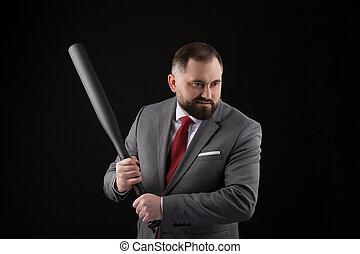bärtig, fledermaus, baseball, klage, schlips, rotes , mann
