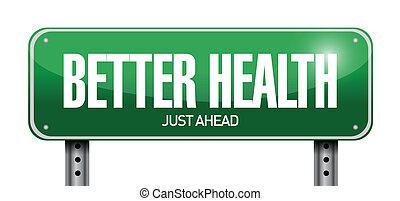 bättre, hälsa, vägmärke, illustration, design