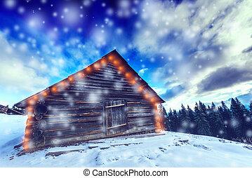 bäume, bedeckt, mit, rauhreif, und, schnee, in, winter, berge, -, weihnachten, verschneiter , hintergrund