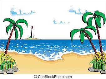 bäume, palme strand