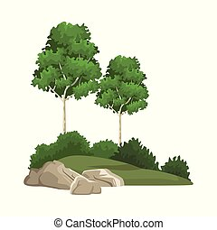 bäume, und, büsche