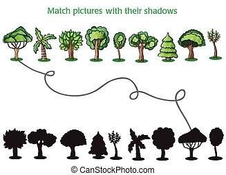 bäume, und, silhoutte, von, bäume, -, spiel, für, kinder