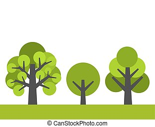 bäume., vektor, abbildung