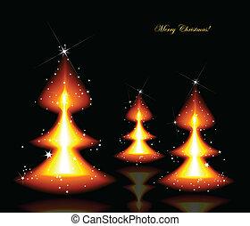 bäume., vektor, brennender, hintergrund, weihnachten