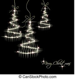 bäume., vektor, weihnachten, hintergrund