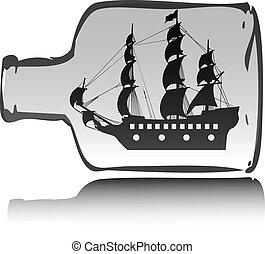 båd, sørøver, ind, flaske, illustration