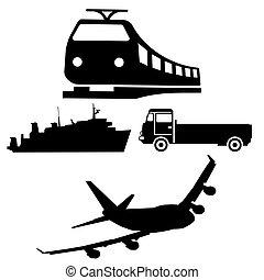 båd, tog, lastbil, og, flyvemaskine, silhuetter