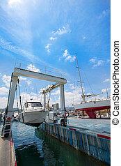 både, kran, båd, arbejder