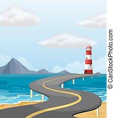 båge, bro, över, den, ocean