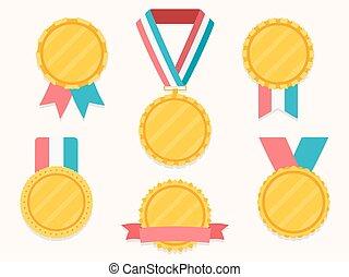 bånd, medaljer