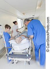 båre, patient, nødsituation, hospitalet, motion slør, gurney