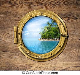 båt, fönster, eller, hyttventil, med, tropisk ö