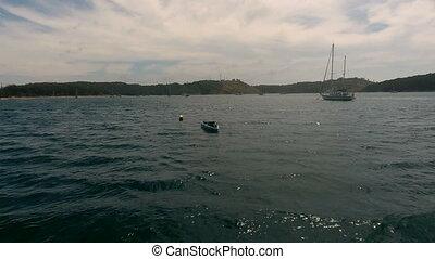 båt, helikopter, thailand, fluga, vik, yacht, över, förtöj, by, fiske, phuket