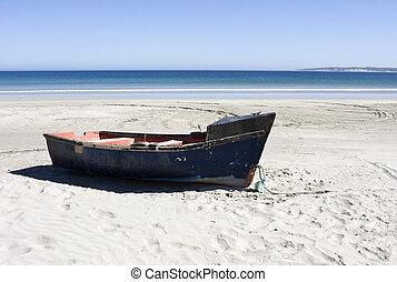 båt, på, a, avskild, strand