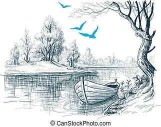 båt, på, flod, /, delta, vektor, skiss
