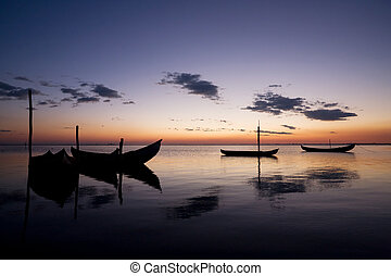 båt, sillhouettes, hos, solnedgång