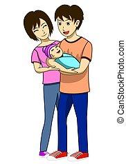 bær, far, mor, kone, det, nylig, family., constitutions, beliggende, beside., happy., show, født, everyone, vektor, image, husband, illustration, barn