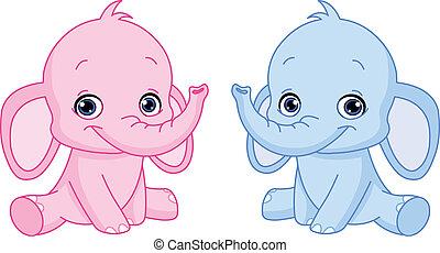 bébé, éléphants